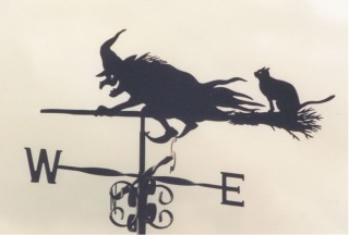 Flying Witch with cat weather vane