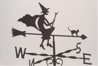 Witch on arrow weather vane