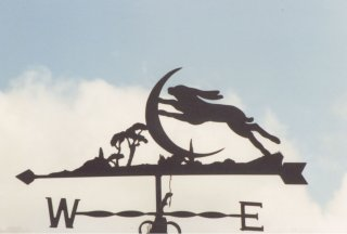 Hare and Moon weather vane