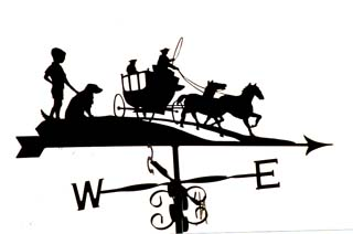 Horse and Carriage with Boy weather vane