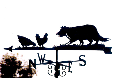 Collie with Hens weathervane