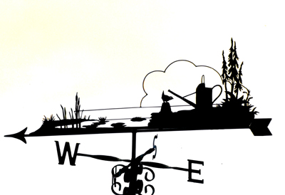 Garden Pond scene weather vane
