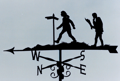 Lady, Man and Signpost 2 weathervane