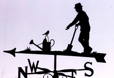 Man Gardener with Robin weather vane