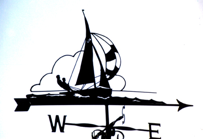 Yacht with Spinnaker weather vane