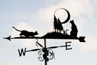 Cats with moon weathervane