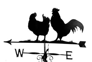 Cockerel and hen weather vane