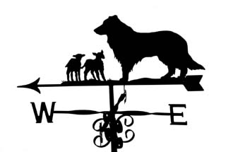 Collie with lambs weather vane