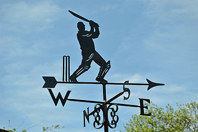 Cricketer weather vane