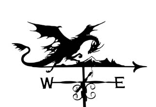 Dragon with mountain weather vane