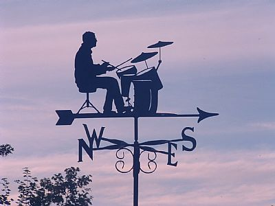 Playing the drums weather vane