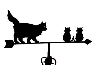 Fluffy cat and kittens weathervane
