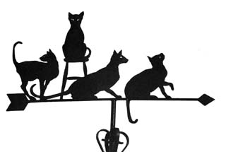 4 Siamese cats weather vane