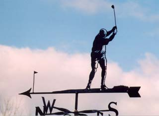 Golfer Teeing off weather vane