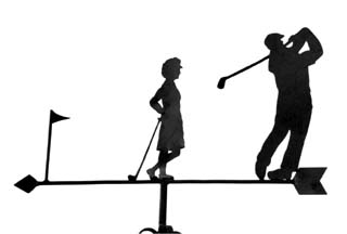 Golfing Couple weather vane