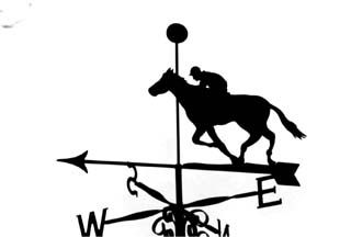 Horse past post weather vane