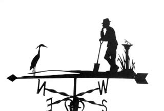Man sundial and Heron weather vane