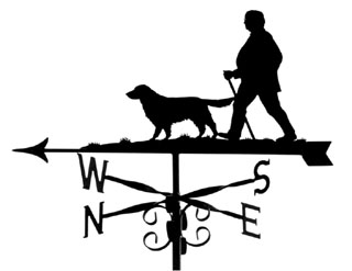 Man stick and Golden Retriever weather vane