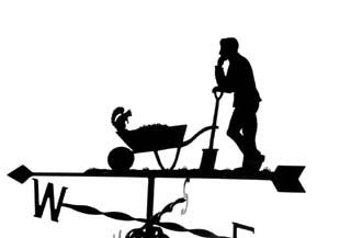 Man with wheelbarrow weather vane