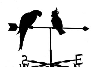 Parrot and Cockatiel weathervane