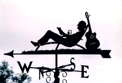 Guitarist Relaxing weather vane