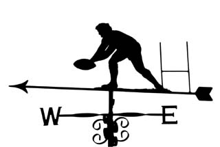 Rugby player weathervane