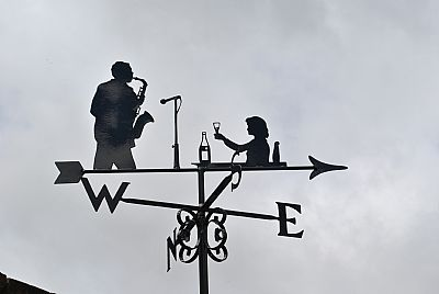 Lady and Sax weather vane