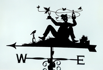 Too much wine! weather vane