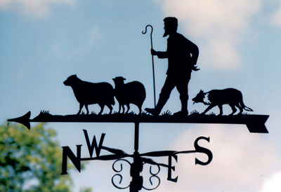 Shepherd dog and sheep weathervane